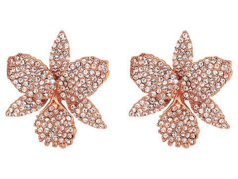 Nina Pave Large Orchid Earrings - Rose Gold/Silk Swarovski