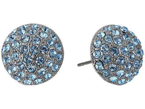 Nina Small Pave Button Earrings - Black Rhodium/Aquamarine Swarovski