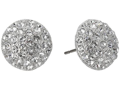 Nina Small Pave Button Earrings - Rhodium/White Swarovski