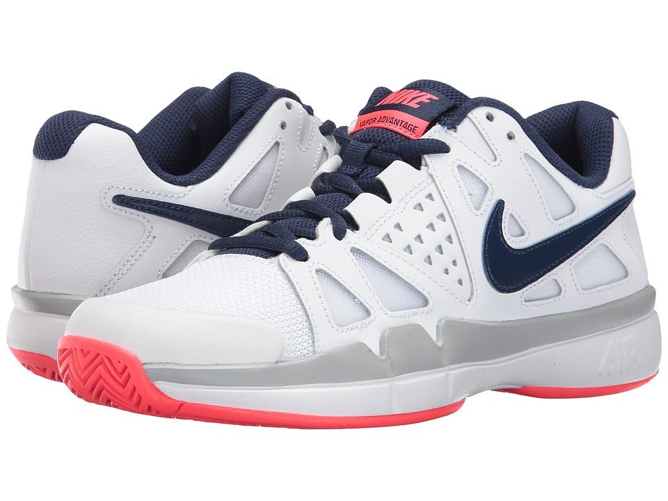 Nike Air Vapor Advantage (White/Binary Blue/Wolf Grey/Solar Red) Women