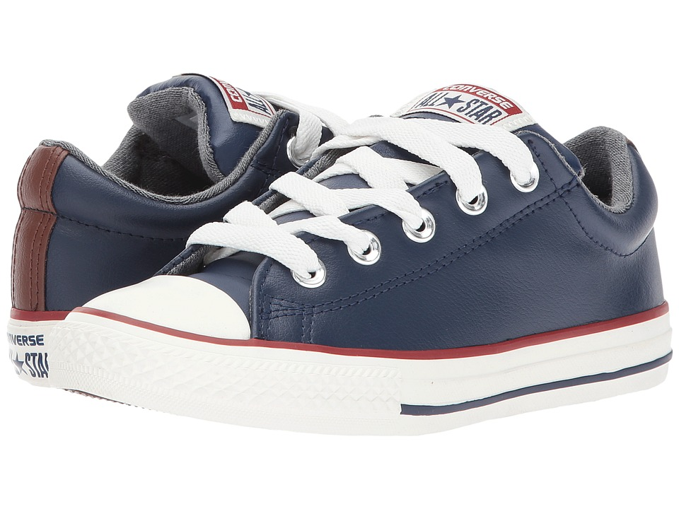 Converse Kids - Chuck Taylor All Star Street Leather and Fleece Slip (Little Kid/Big) (Midnight Navy/Terra Red/Egret) Boys Shoes