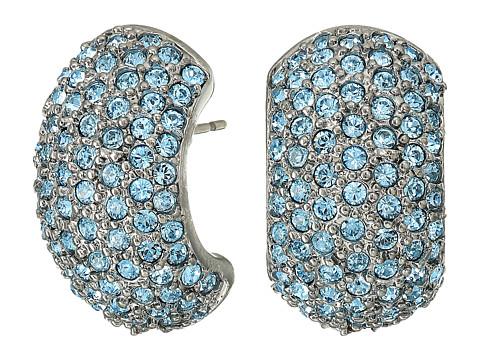 Nina Pave Half Hoop Earrings - Black Rhodium/Aquamarine Swarovski