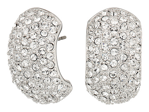 Nina Pave Half Hoop Earrings - Rhodium/White Swarovski