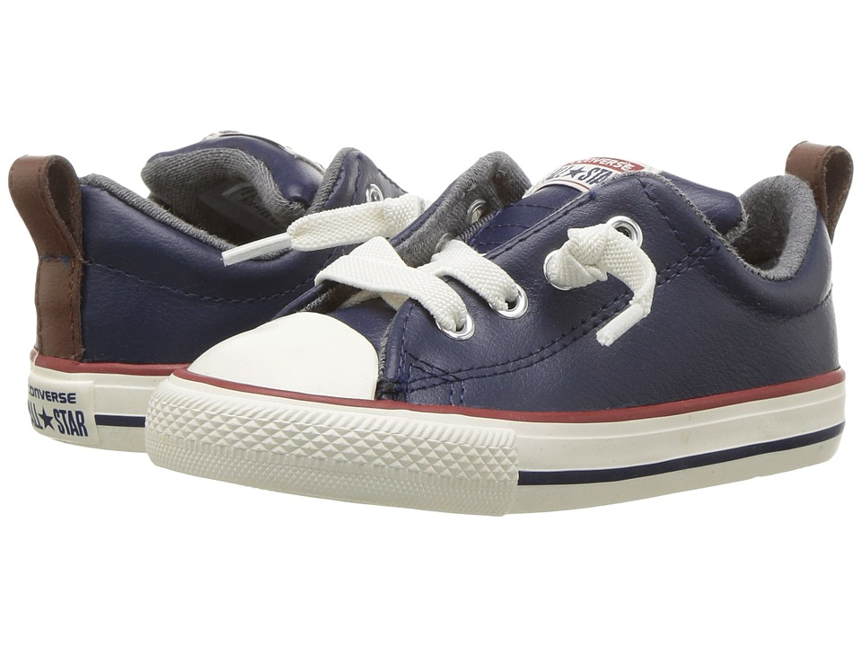 Converse Kids Chuck Taylor All Star Street Leather and Fleece Slip (Infant/Toddler) (Midnight Navy/Terra Red/Egret) Boys Shoes