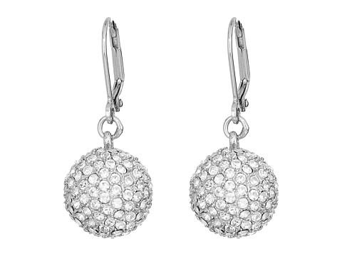 Nina Leverback Pave Ball Drop Earrings - Rhodium/White Swarovski