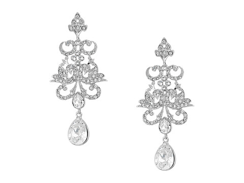 Nina Art Nouveau Chandelier Statement Earrings - Rhodium/White