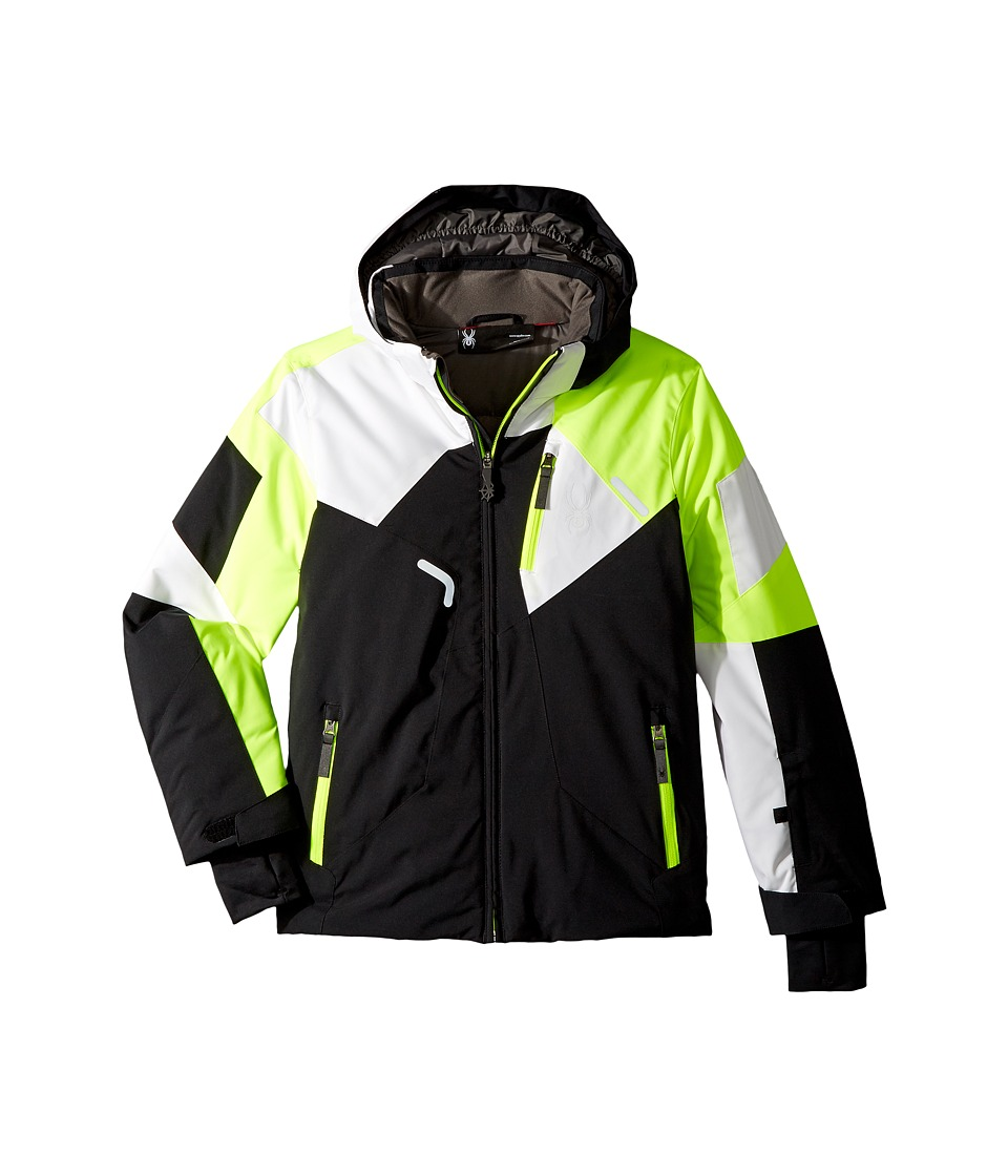 Spyder Kids - Leader Jacket (Big Kids) (Black/Bryte Yellow/White) Boys Jacket