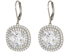 Haloed Square Cushion Cut Leverback Earrings