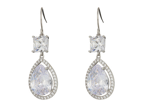Nina Double Drop Square and Pear Cut Fish Hook Earrings - Rhodium/White CZ