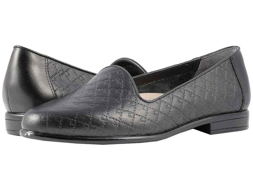 Trotters Liz (Black Quilted Embossed) Women's Shoes