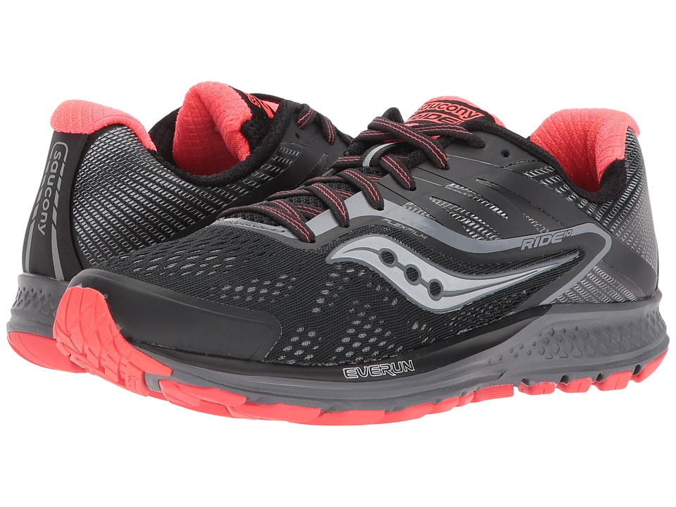 Saucony Ride 10 (Black/Coral) Women's Running Shoes