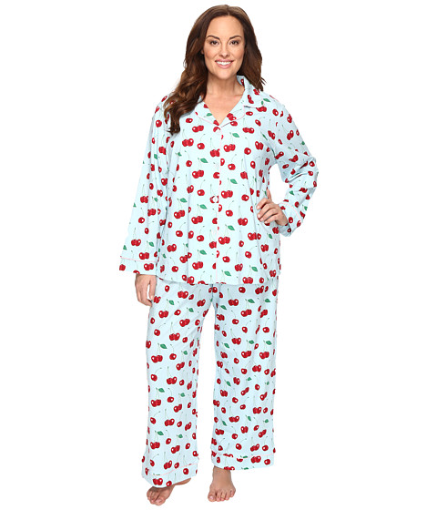 BedHead Plus Size Long Sleeve Classic Pajama Set - Cherry Hearts