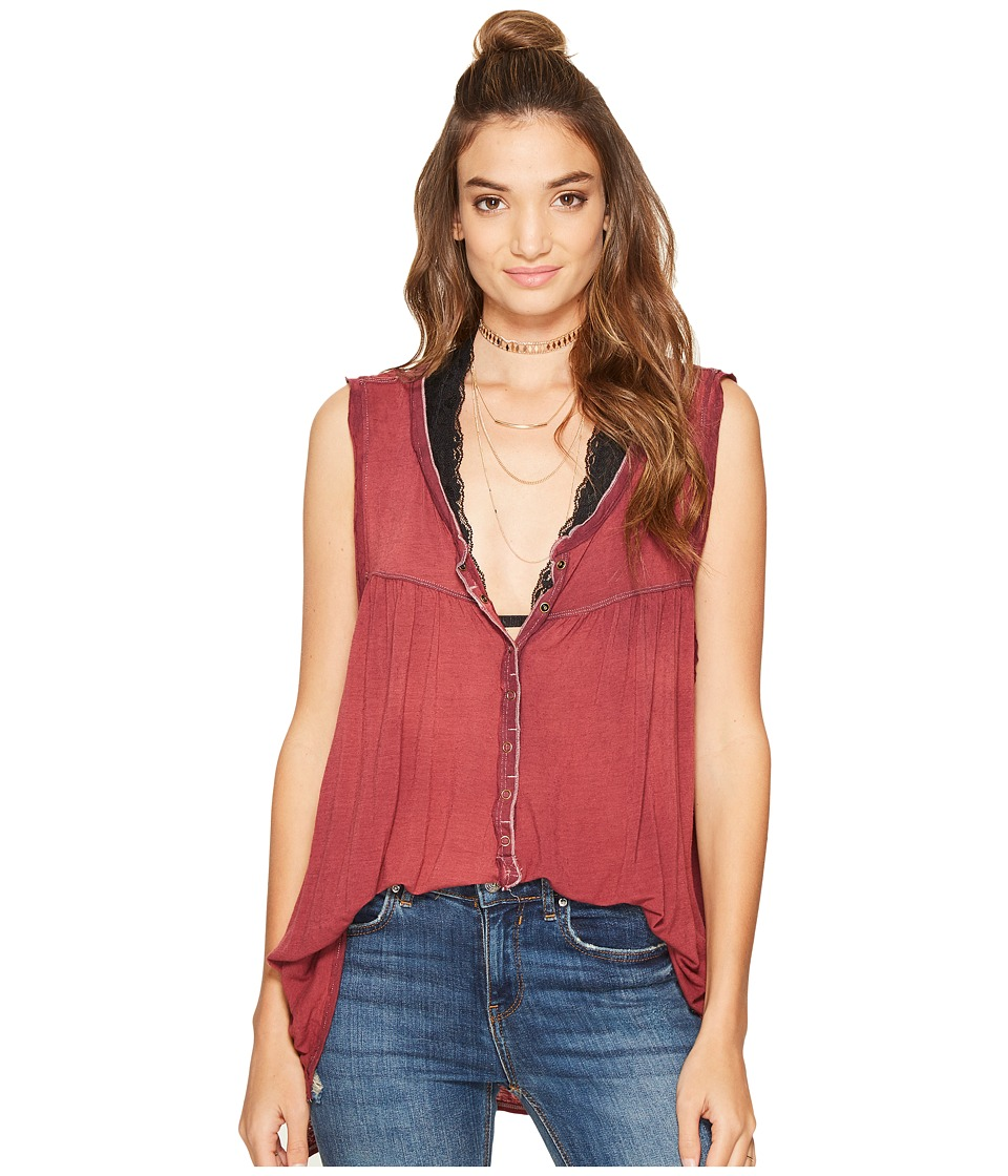 Free People Hudson Tank Top (Wine) Women