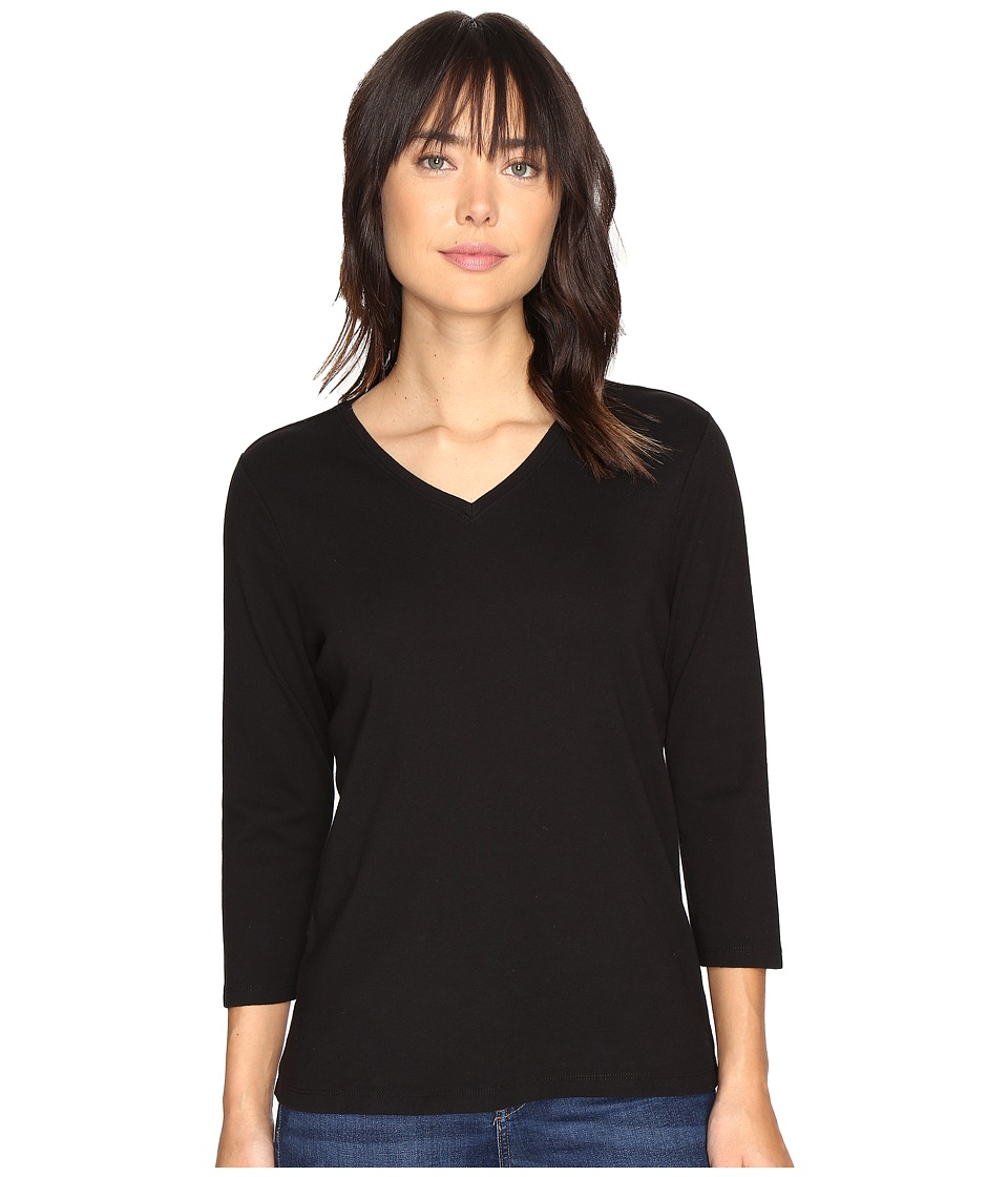 Pendleton 3/4 Sleeve Rib Tee (Black) Women