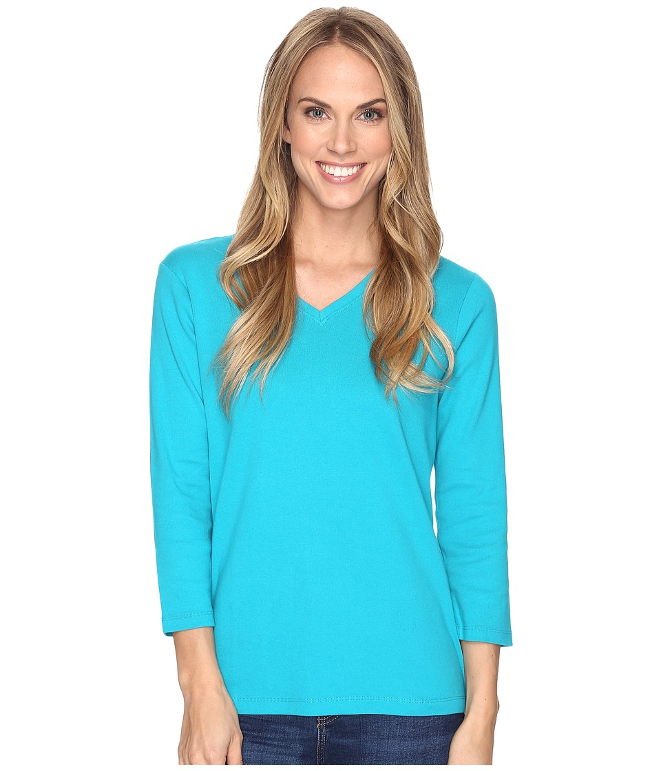 Pendleton 3/4 Sleeve Rib Tee (Tile Blue) Women