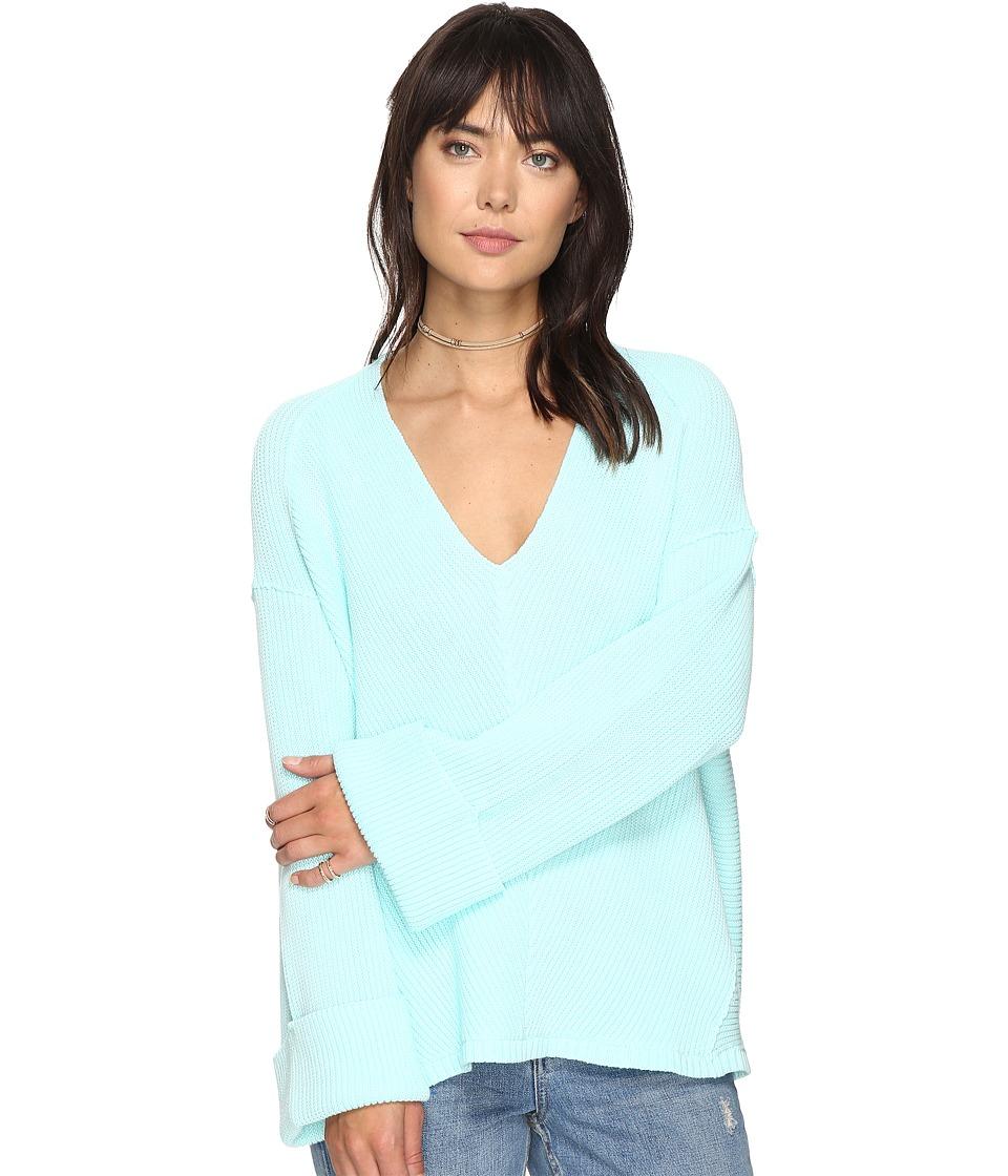 Free People La Brea V-Neck Sweater (Mint) Women