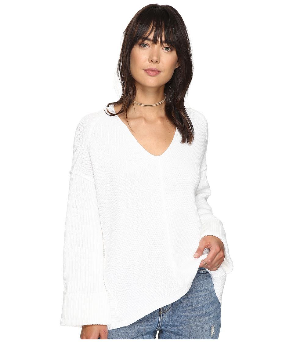 Free People La Brea V-Neck Sweater (White) Women