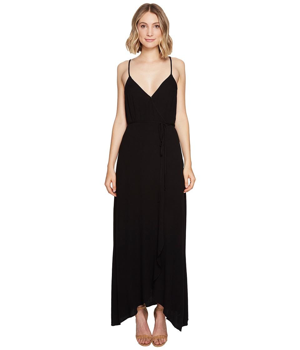 Young Fabulous & Broke Lorelai Wrap Dress (Solid Black) Women