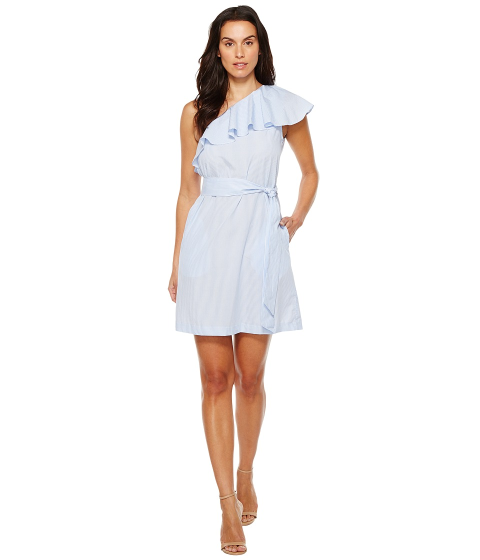 Donna Morgan - One Shoulder Mini Dress w/ Self Belt (Oxford Blue/White) Womens Dress