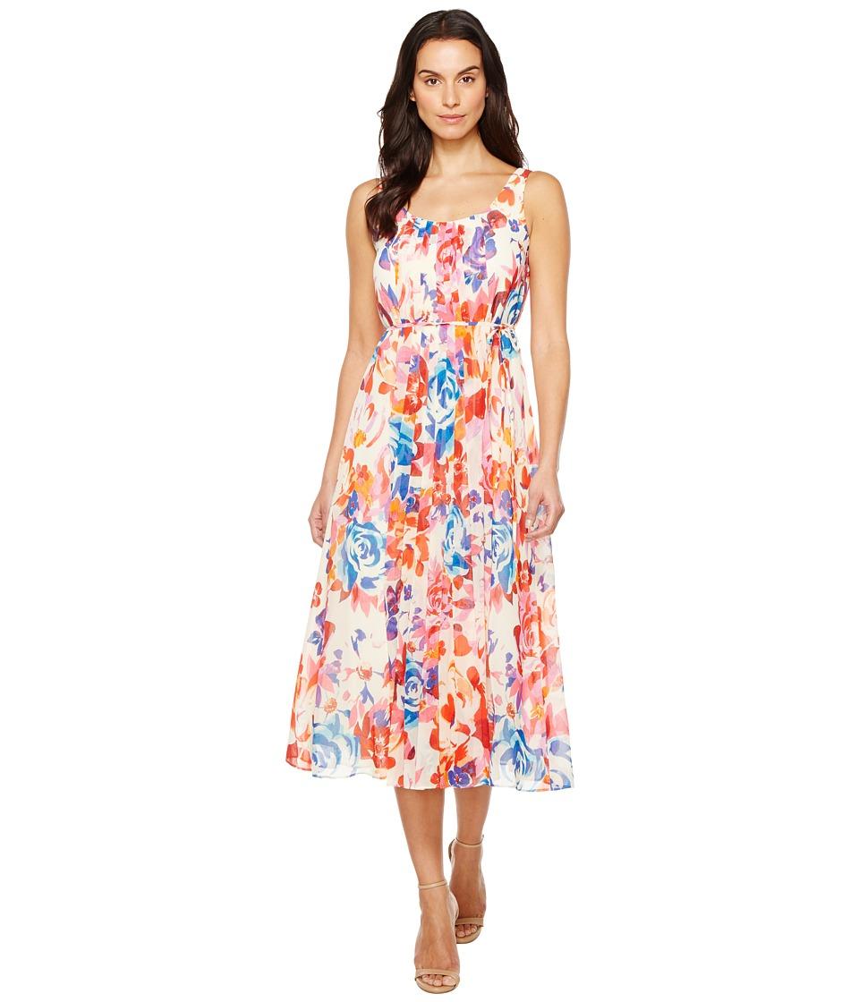 Donna Morgan - Pleated Front Chiffon Midi Dress (White Cap Grey/Passion Pink/Papaya Multi) Womens Dress