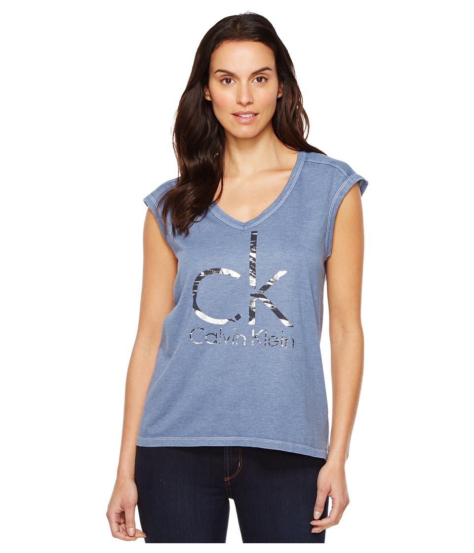 Calvin Klein Jeans Brushstroke Foil Logo Tee (Bijou Blue) Women