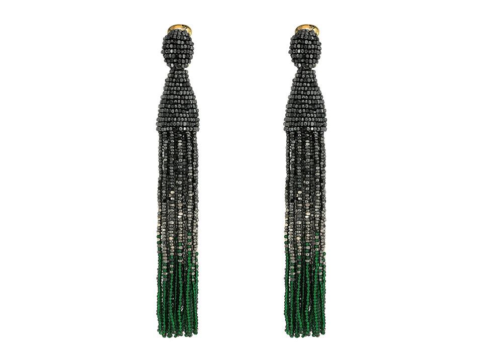 Oscar de la Renta - Long Ombre Beaded Tassel C Earrings (Gunmetal) Earring