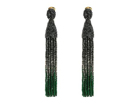Oscar de la Renta Long Ombre Beaded Tassel C Earrings - Gunmetal