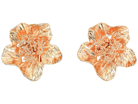 Oscar de la Renta Bold Flower Button C Earrings - Rose Gold