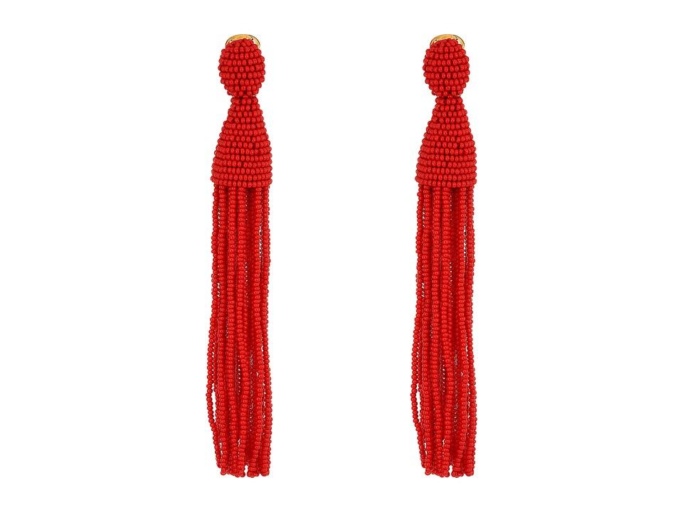 Oscar de la Renta - Long Beaded Tassel C Earrings (Garnet) Earring