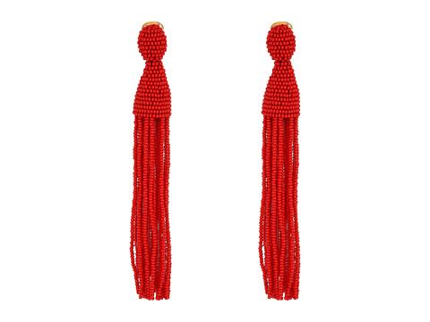 Oscar de la Renta Long Beaded Tassel C Earrings - Garnet