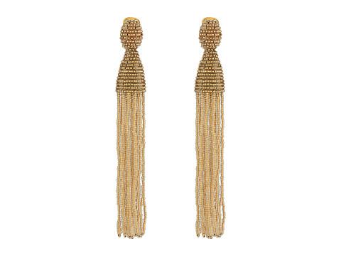 Oscar de la Renta Long Beaded Tassel C Earrings - Pebble