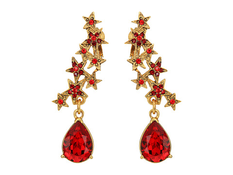 Oscar de la Renta Star and Teardrop C Earrings - Garnet