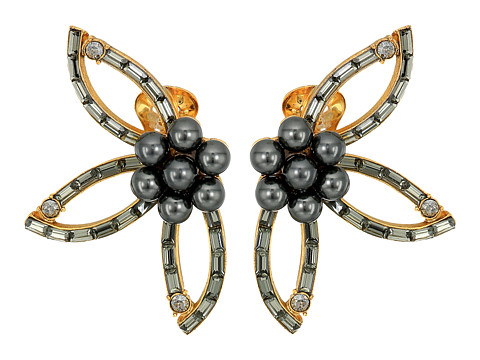 Oscar de la Renta Floral Baguette Pearl C Earrings - Black Diamond