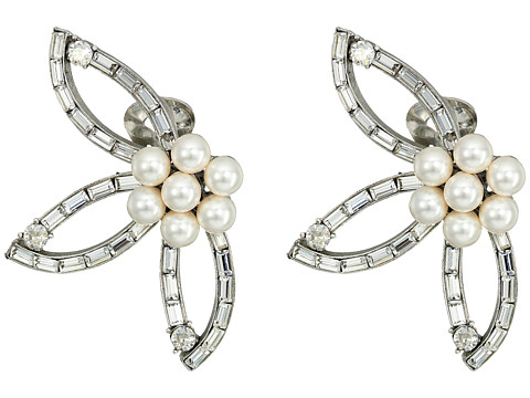 Oscar de la Renta Floral Baguette Pearl C Earrings - Crystal