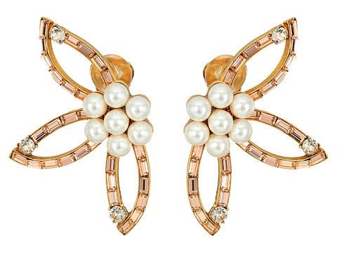 Oscar de la Renta Floral Baguette Pearl C Earrings - Rose
