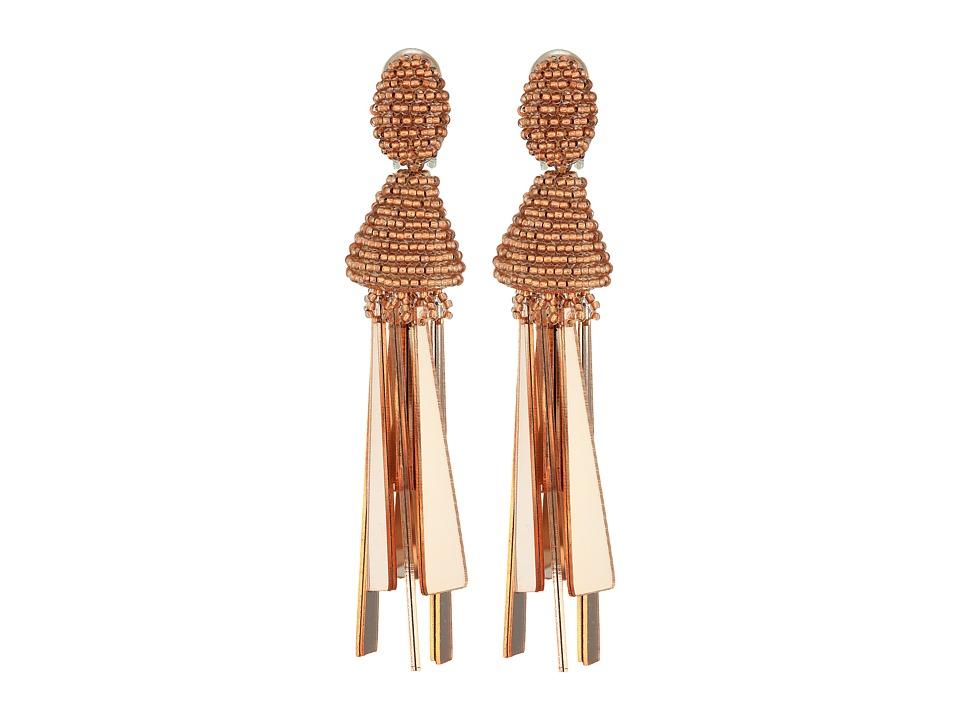 Oscar de la Renta Opaque Tassel C Earrings (Rose Gold) Ea...