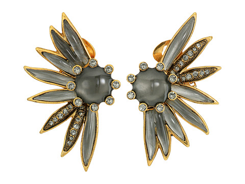 Oscar de la Renta Floral Resin and Pave C Earrings - Black Diamond