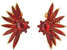 Oscar de la Renta - Floral Resin and Pave C Earrings