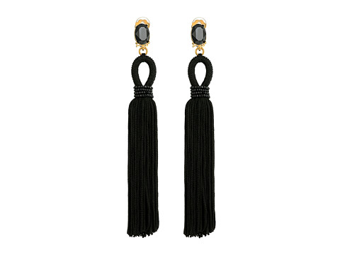 Oscar de la Renta Long Silk Tassel C Earrings - Black