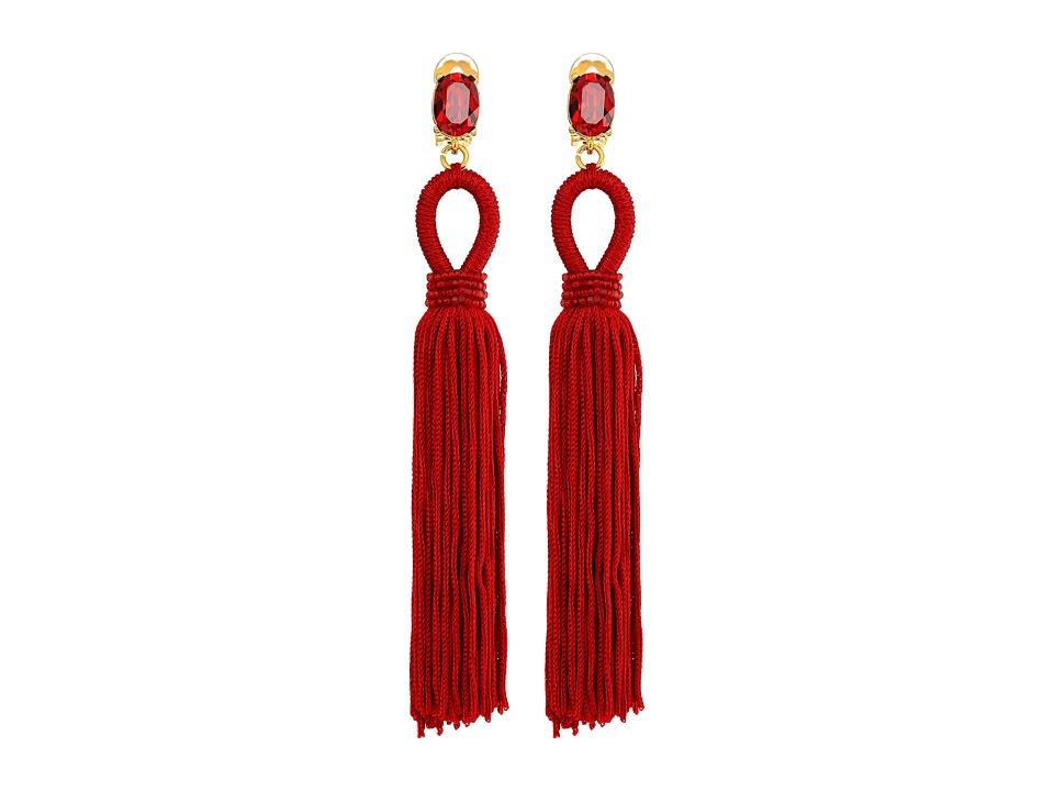 Oscar de la Renta - Long Silk Tassel C Earrings (Garnet) Earring