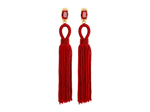 Oscar de la Renta Long Silk Tassel C Earrings - Garnet