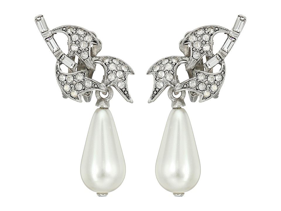 Oscar de la Renta - Crystal Leaf and Pearl C Earrings (Crystal) Earring