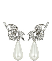 Oscar de la Renta - Crystal Leaf and Pearl C Earrings