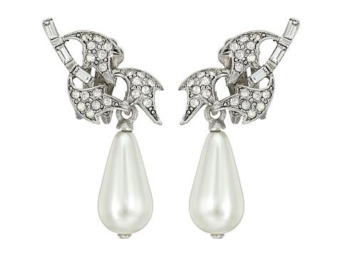 Oscar de la Renta Crystal Leaf and Pearl C Earrings - Crystal