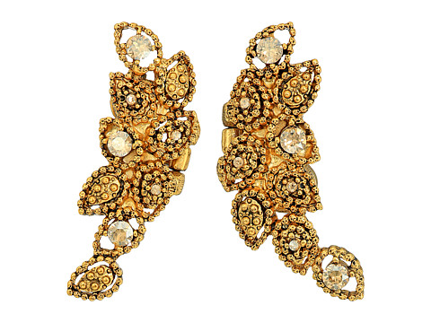 Oscar de la Renta Milgrain Petal C Earrings - Crystal Gold Shadow