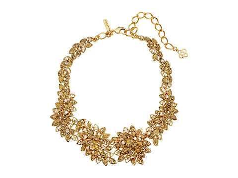 Oscar de la Renta Milgrain Petal Necklace - Crystal Gold Shadow