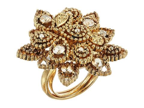 Oscar de la Renta Milgrain Petal Ring - Crystal Gold Shadow