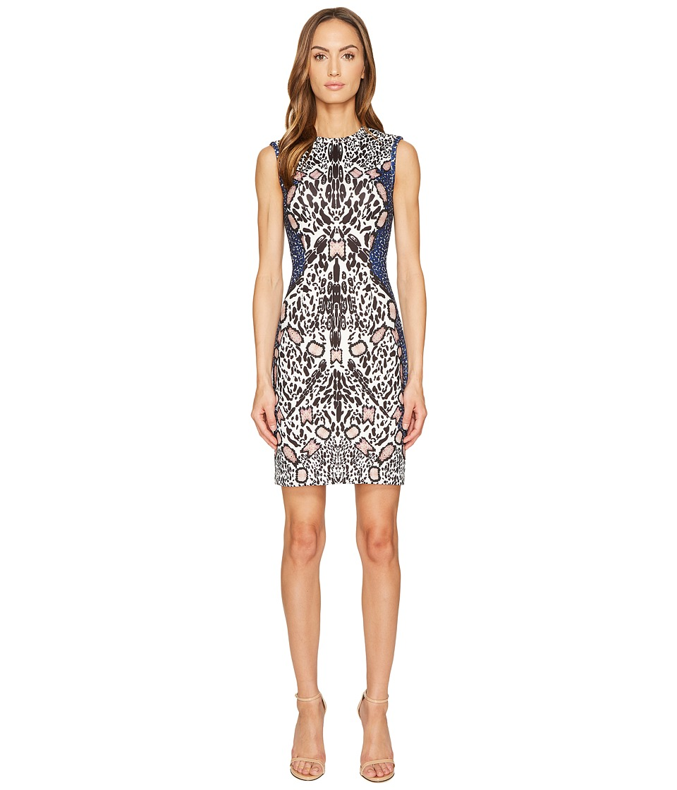 YIGAL AZROUEL Abstract Cheetah Watercolor Print Scuba Dress (Jet Multi) Women