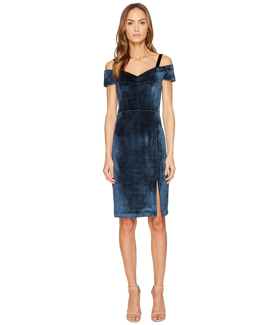 YIGAL AZROUEL Cold Shoulder Stretch Velvet Dress (Desert Blue) Women