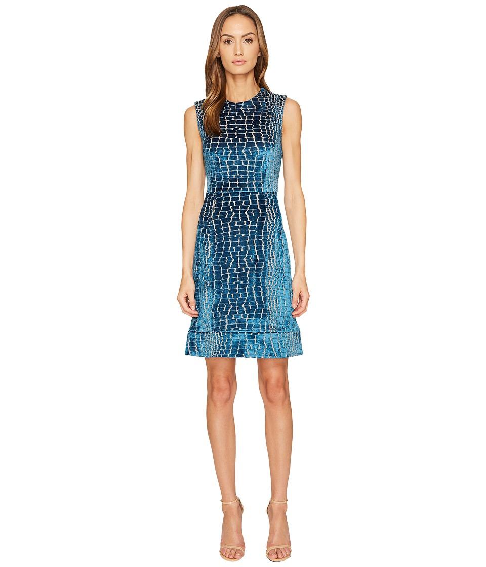 YIGAL AZROUEL Crocodile Velvet Burnout Midi Dress (Desert Blue) Women